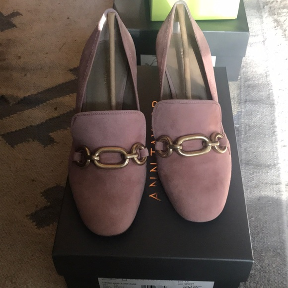 1e4f9f853a77b Paloma pink Suede Chained Loafer from Ann Taylor